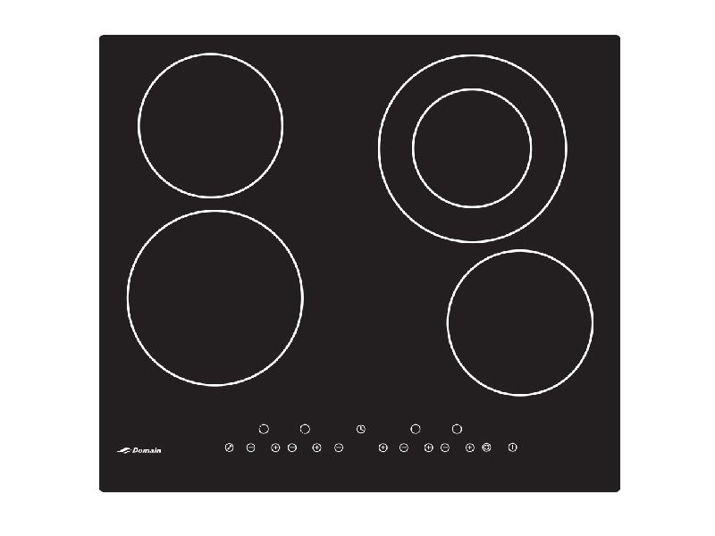 Domain 59cm Four Burner Glass Electric Cooktop